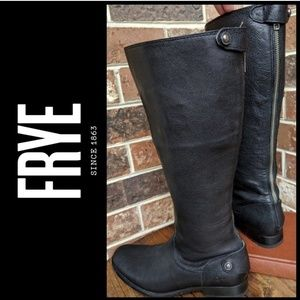 "FRYE ""Melissa"" Black Back-Zip Tall Knee Boots 7.5"